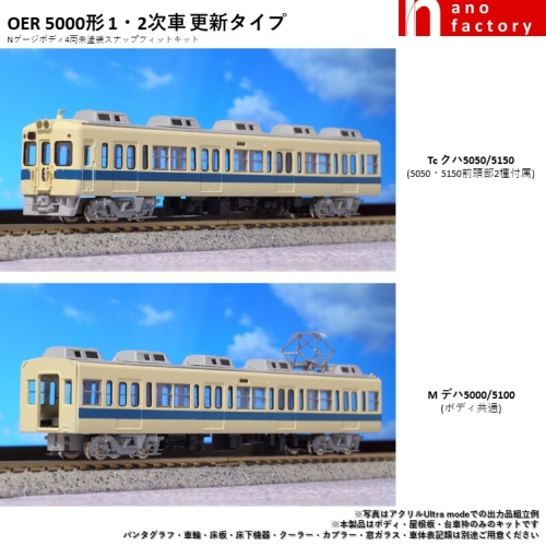 OER5000形 1・2次車 更新タイプ Nゲージボディ4両未塗装スナップフィットキット