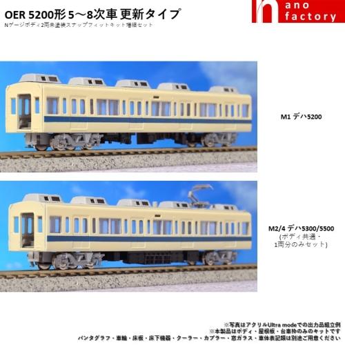 OER 5200形 5~8次車 更新タイプ Nゲージボディ2両未塗装SFキット増結セット