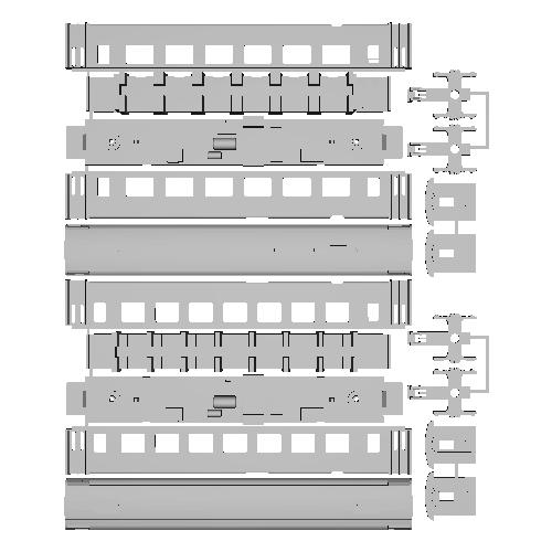 アルプスの客車 Ew2/長 2等車1両 1等車1両 セット