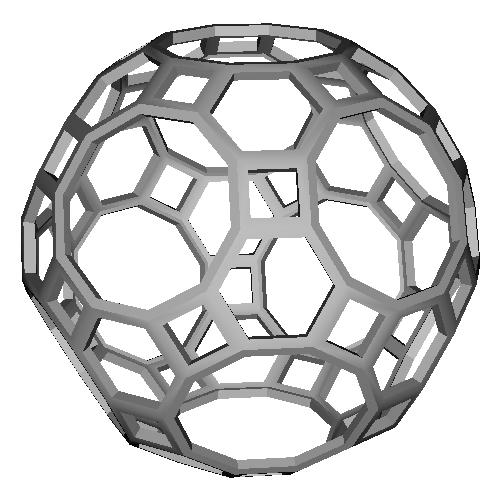斜方切頂20,12面体(Truncated_Icosidodecahedron)スケルトンモデル