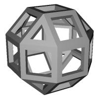 斜方6,8面体 (Rhombicuboctahedron) スケルトンモデル