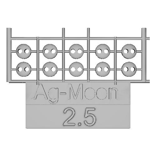 Ag-Moonフラットボタン  2.5mm  10個