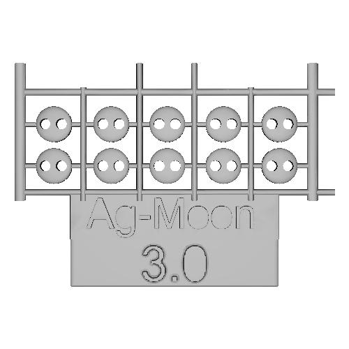 Ag-Moonフラットボタン  3.0mm  10個