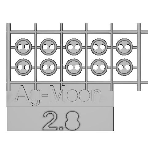 Ag-Moon縁ありボタン 2.8mm 10個