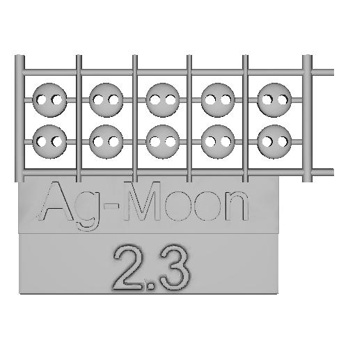 Ag-Moonフラットボタン 2.3mm 10個