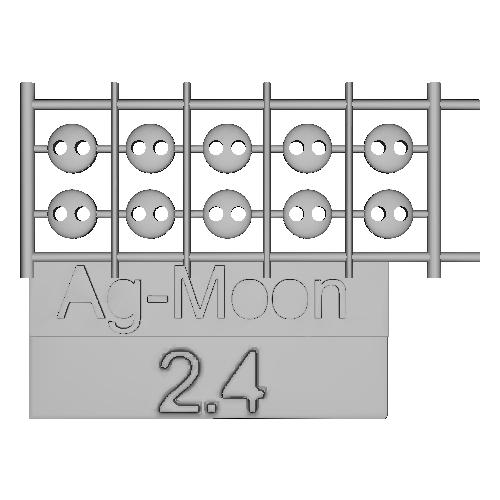 Ag-Moonフラットボタン 2.4mm 10個