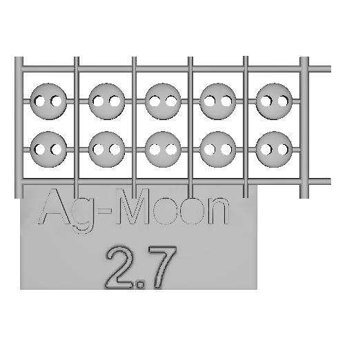 Ag-Moonフラットボタン 2.7mm 10個