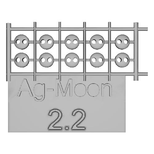 Ag-Moonフラットボタン 2.2mm 10個