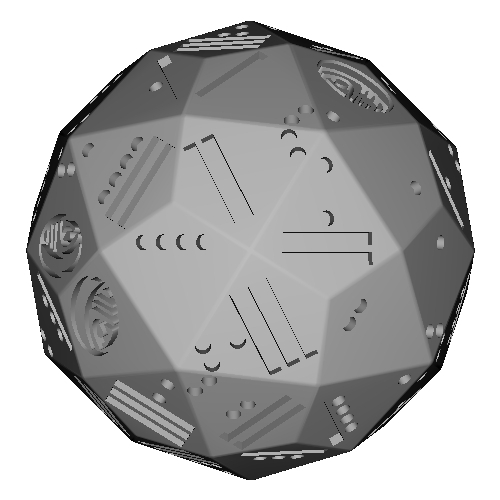 凧形六十面体ダイス(マヤ数字)