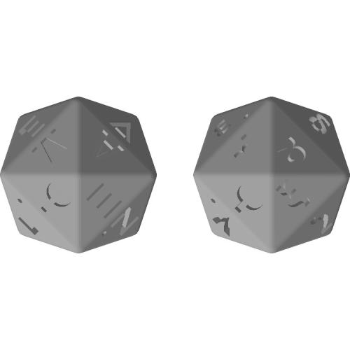 四方六面体ダイス(ギリシャ文字:大文字と小文字)