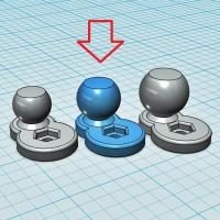 (汎用) ボールジョイント[ボール部側] 15Φ (オフセット10mm:短尺)