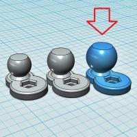 (汎用) ボールジョイント[ボール部側] 17Φ (オフセット10mm:短尺)