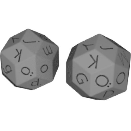 菱型三十面体ダイス(ドイツ語アルファベート:大文字と小文字)