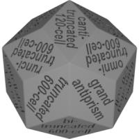 菱形三十面体ダイス(半正多胞体の名称:正600胞体-正120胞体系&ねじれ型)