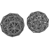 正600胞体(菱形十二面体座標配置と正十二角形座標配置)