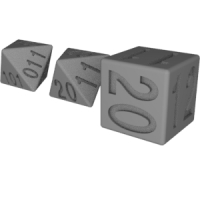 6面&8面ダイス(2進法表記&3進法表記)