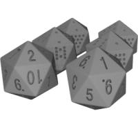 正二十面体ダイス(0~9と1~10)