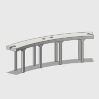 Nゲージ 単線高架橋(旧)曲線(半径280/45度)