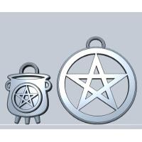 魔女の大釜と五芒星のチャームセット