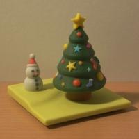 ミニクリスマスツリー with 雪だるま (オルゴールボックス・蓋)