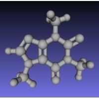 カフェインの分子模型(1億倍)
