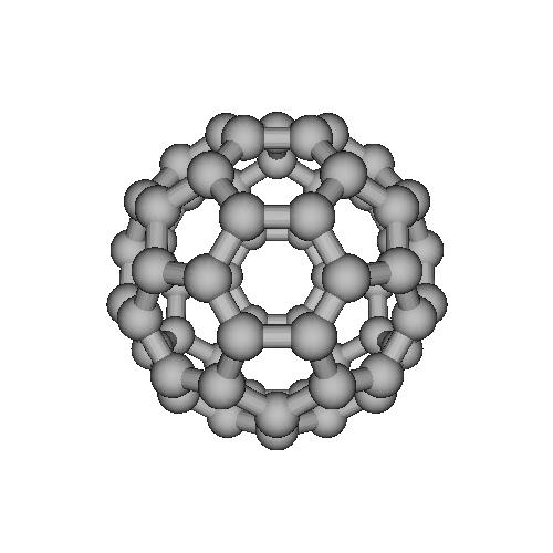 フラーレンの分子模型(7000万倍)