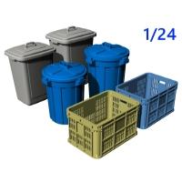 1/24 ゴミ収集用ポリバケツ(90L&70L)と資源ごみかご(採集かご)