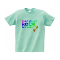 猫好きの為の妄想ロックフェスTシャツ L アイスグリーン
