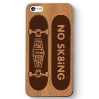 NO SK8iNG iPhone SE ケース WOOD/BROWN