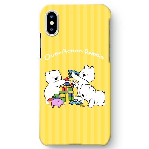 【すこぶる動くちびウサギ&クマ】iPhone X カバー(つみき)
